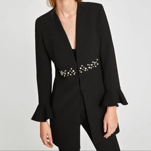 NEW Zara Black frock coat with pearls Large